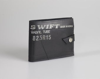 Innertube Wallet: Ethical, recycled  durable rubber, black - Waterproof.