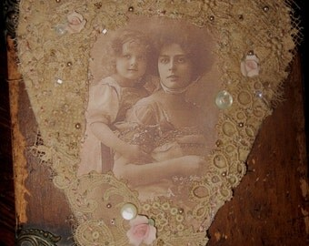 Sweet Edwardian Mother and Daughter Vintage Lace Heart Collage Hanging