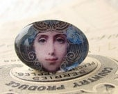 "Handmade glass cabochon - Art Nouveau ""Mask"" - 25x18 18x25 25x18mm 18x25mm oval, horizontal orientation, wide, woman face, blue, swirls"
