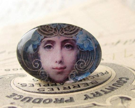"Handmade glass cabochon - Art Nouveau ""Mask"" - 25x18 18x25 25x18mm 18x25mm oval, horizontal orientation, wide, woman face, blue, swirls"