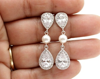 Crystal Pearl Bridal Earrings Wedding Jewelry Silver Cubic Zirconia Posts Swarovski Pearl Bridal Jewelry Wedding Pearl Earrings