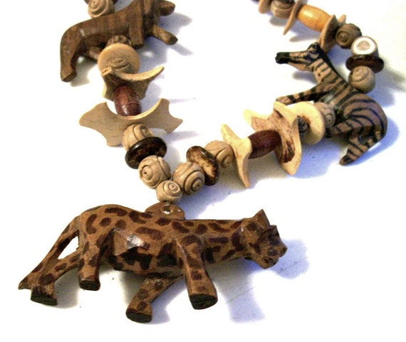 African tribal ethnic necklace carved wood animal vintage