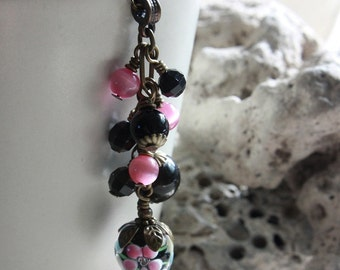 Black and Pink Flower Lampwork Glass Bead Necklace - C.225