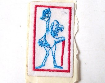 vintage fabric ostrich sticker cane collectible bird animal mid century modern retro red white blue mens patch