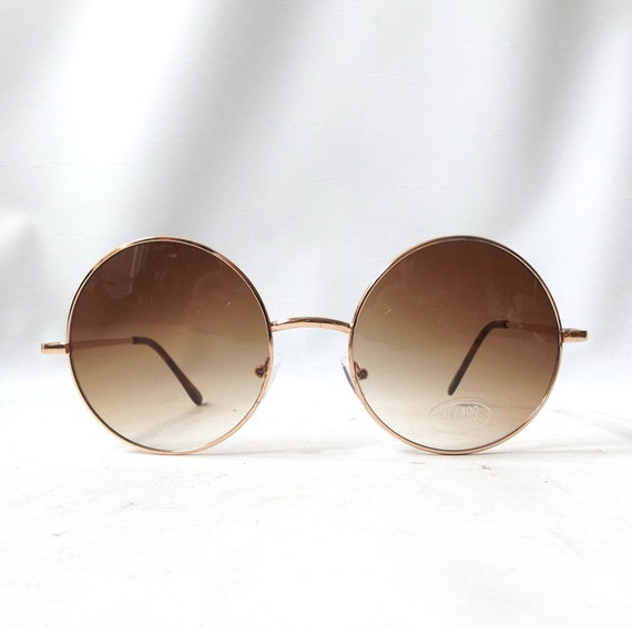 vintage 1980s round sunglasses oversized thin gold metal