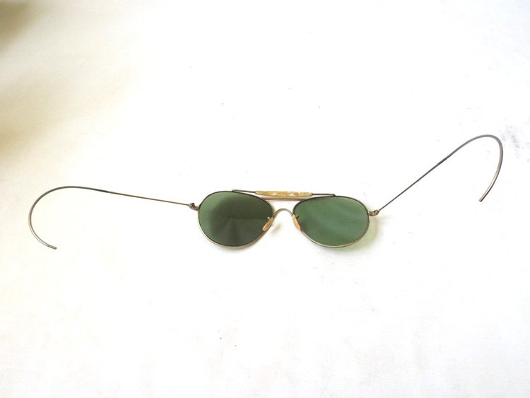 Vintage 1940 S Aviator Sunglasses Gold Metal By