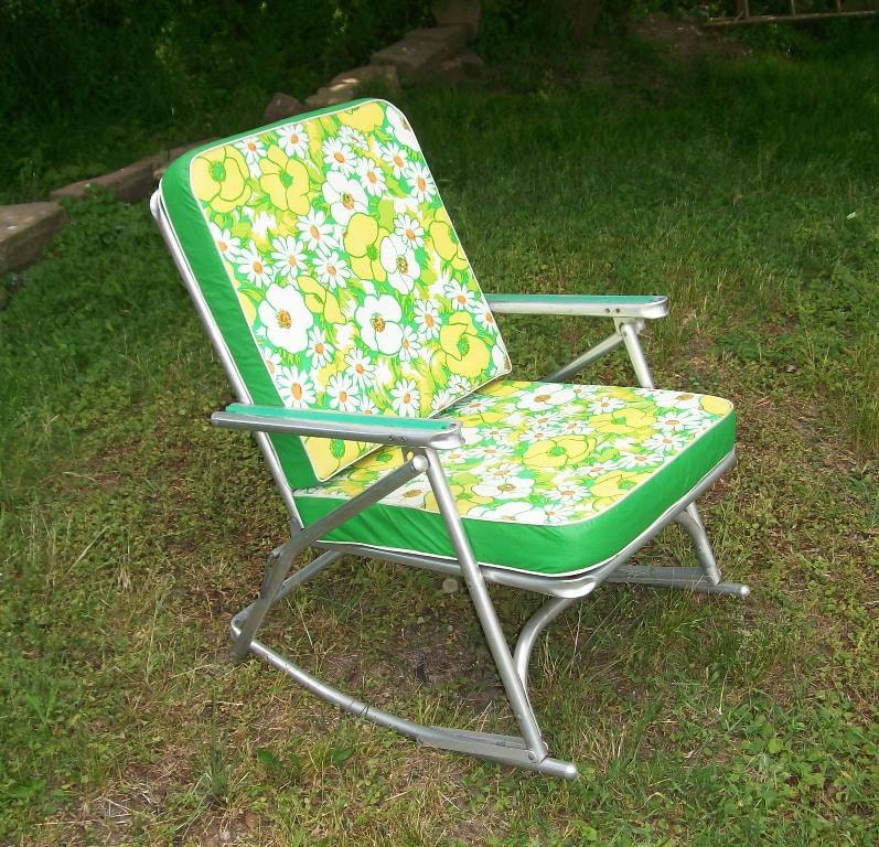 Vintage 1950 S Aluminum Rocking Lawn Chair Padded Cushion