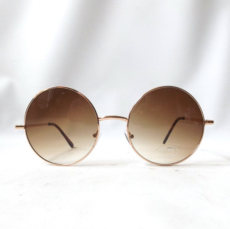 Gold Thin Frame Glasses : vintage 1980 s round sunglasses oversized thin gold metal ...