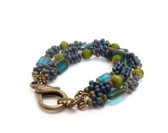 Teal Blue Czech Glass Bracelet - Multistrand Seed Bead Bracelet - Moss Green Agate - Picasso Glass Boho Layering Bracelet