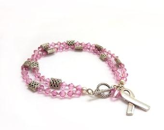 Breast Cancer Awareness Bracelet - Multistrand Bracelet - Pink Swarovski Crystals - Silver Ribbon - 50% Donation