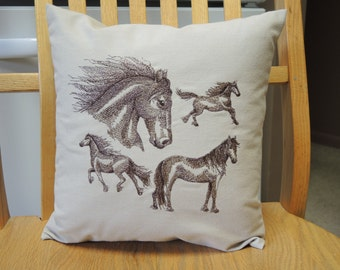 Decorative Embroidered Horse Pillow,  Home & Living, Home Decor