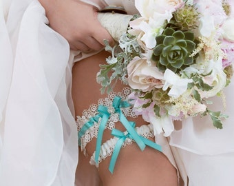Lace Garter, Wedding Garter, Aqua Blue Wedding Garter and Venise Lace Toss Garter - The ALLIE Garter Set