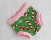 Large Fleece Soaker, Candy Canes and Snowflakes Christmas Underpants/Cloth Pullup/Diaper Cover, Pink Green Red White, Ready to Ship Holidays
