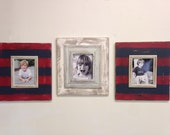 Uber Distressed Set of 3 8x10 Frames, Red, White, Navy and Morning Fog Combo