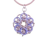 Pink and Lavender Chainmaille Pendant Leather Cord Necklace