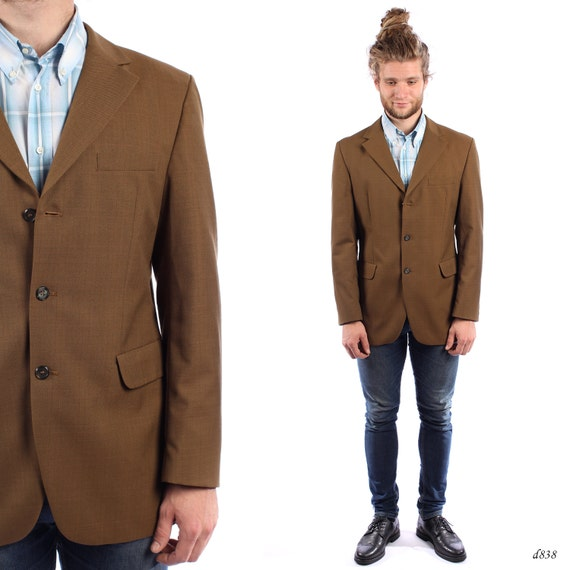 Mens BROWN Blazer . Vintage RETRO Fitted Jacket Slim Fit Sport