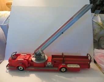 vintage toy  IDEAL Toy co. Plastic  and metal  1950s FIRE LADDER Truck   34.5-inch