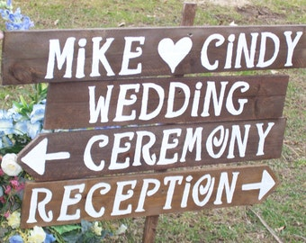 4 Rustic Wedding Signs / wooden signs / custom sign / personalized sign / wedding decorations / mr and mrs sign/ reception ceremony sign