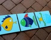 3-pc Funny Fish set for bath or nursery