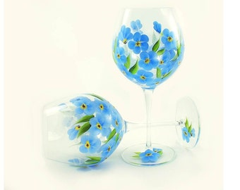 Hand Painted Wine Glasses - Blue Periwinkle Wildflowers, Forget Me Not Flowers, Set of 4 - Wedding Housewarming Gift Idea Painted Wine Glass
