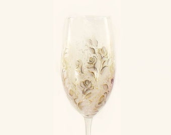 Hand Painted Anniversary Champagne Flutes - Ivory Roses with Gold, Silver Accents Set of 2 - Personalized 25th 50th Anniversary Gift Set