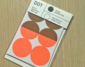 Colour Dot Stickers 29mm  - Brown / Orange