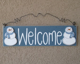 Free Shipping- Welcome sign with Snowmen (Blue Gray) for home and office door hanging sign