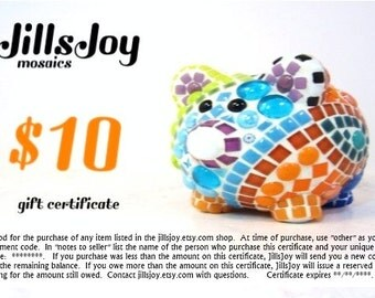 GiFT CERTIFICATE, ten 10 dollars on JillsJoy items -- great gift for him or her