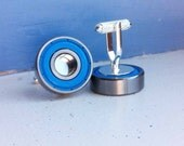 Blue Skater Cufflinks, upcycled bearing, skateboarder, roller skater, scooter, geeky wedding, grooms accessories, groomsmen gift