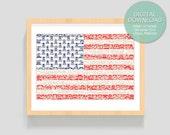"PRINTABLE Art ""Moustache USA Flag""  8x10 inches (20.32 x 25.4 cm) - Wall Art, Print at home, Print Art , Digital Art Print"