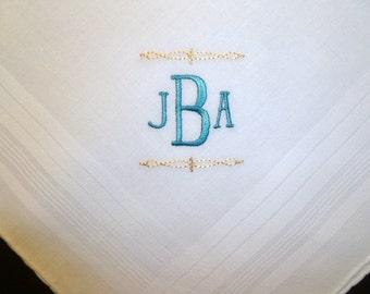 Groom Bestman Groomsmen Father of the Bride Monogram Handkerchief Wedding Keepsake Hankerchief