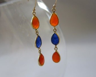 orange and blue dangle teardrop earrings