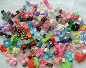 24 Assorted Non Slip Hair Clips - Grab Bag -Tuxedo Bow Hairclips, Flower Hair Clips and More