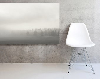 Stretched and Mounted Large Canvas Landscape  Oregon Mountains in the Fog