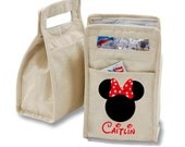 Personalized Minnie Mouse Ears with Red Bow Insulated Cotton Lunch Bag - Personalized with Any Name and You Choose the Font!