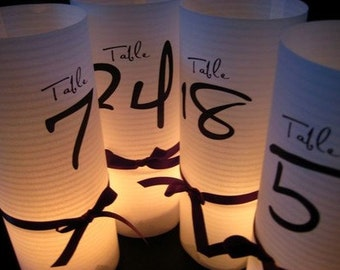 """20 or more """"Tie the Knot"""" Table number Luminaries for centerpieces, table numbers at wedding, events, balls"""