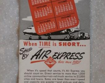 1948 Calendar Ink Blotter Air Express Railway Airplane Advertising Ephemera