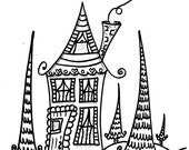 The Little Cottage Coloring Book, hippie home coloring book