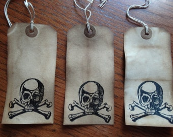 SET of 3 Large Primitive Halloween SKULL & Crossbones Hang Tags