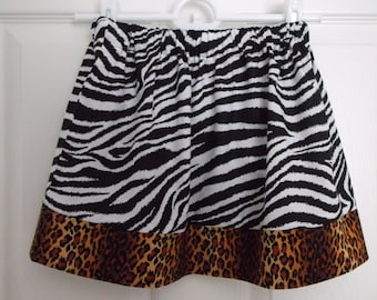 Zebra and Cheetah Print Girls Skirt
