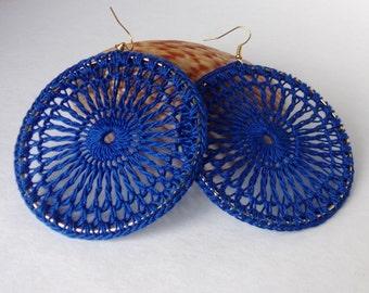 Cobalt Blue Lace Crochet Hoop Earrings