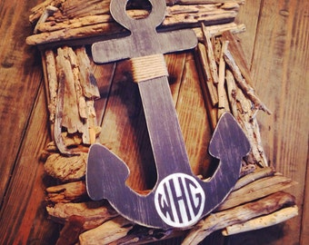"13-18"" monogrammed wood anchor monogrammed with any one two or three initials great wedding gift nursery decor or nautical home decor"