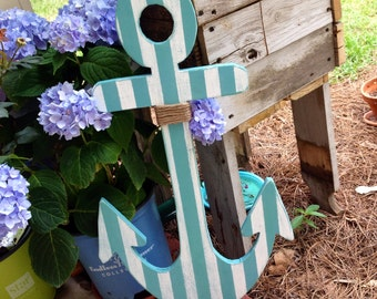 "Wooden Anchor, nautical decor with rope embellishments Any size available up to 36"" Select size at checkout"