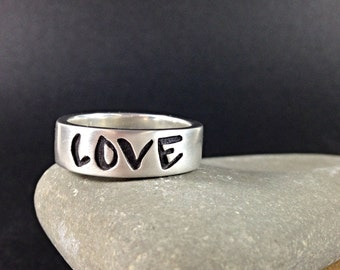 Sterling Silver Band with Graffiti (LOVE)