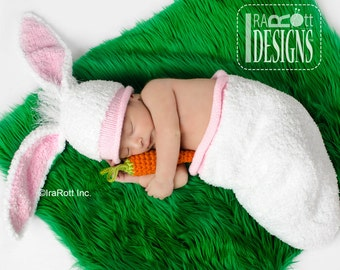 KNIT PATTERN Bunny Rabbit Baby Hat with Carrot and Cocoon Set PDF Pattern, Instant Download
