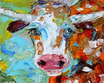 Fine art Print Abstract Longhorn from image oil painting by Karen Tarlton - impressionistic whimsical art