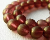Satin Rosaline Czech Glass Druk Beads, Glass Round Beads, Transparent Glass & Satin Bronze Rosaline Luster(12pcs) NEW