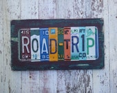 License Plate Sign Art - Funky Word Block Adventure Road Trip Vacation Memories Photo Wall - Custom Signs Available - Salvaged Wood Recycled