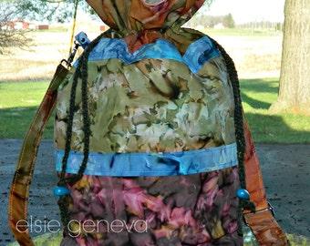 "Design Your Own Made to Order Batik 15"" Tall Tote / Knitting Bag Working Basket Jewel Blue Pink Green Orange Red"