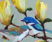 Cerulean Warblers and Magnolia Branch Bird Floral Art Print by Angela Moulton 8 x 8 inch prattcreekart